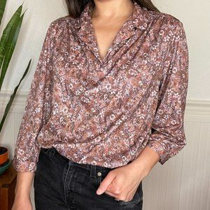 Vintage Brown Floral Long Sleeve Blouse